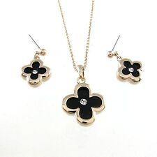 Set 18K GP Rose Gold  Crystal Black clovers Necklace & Earring