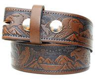 Eagle Embossed Tan Leather Belt - Snap Fastenings for Western Cowboy Buckles