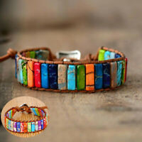 Bracelet Wrap Tube Stone Women Natural Leather Handmade Beads Chakra