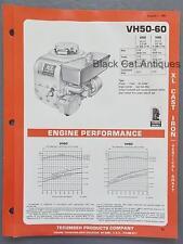 1981 Tecumseh XL Cast Iron Vertical Shaft Engine Specs Brochure VH50-60, 5 & 6HP