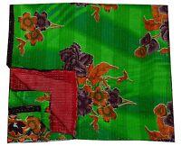 Indian Handmade Reversible Bedspread Kantha Quilt Throw Vintage Cotton Blanket