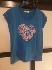 Board Angel Blue Floral Heart T-shirt Cap Sleeve Surf Snowboard Skate Size 10