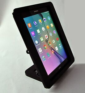 Galaxy TAB A 9.7 BLACK Acrylic Security Enclosure w Stand for POS Kiosk Square