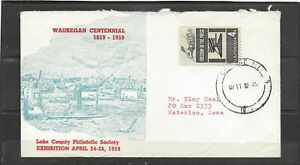 1959? Illustrated Event Cover Waukegan Centennial, Chicago, IL