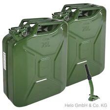 2 Stück Kanister Benzinkanister 20 L Benzin Metallkanister + 1x Einfüllstutzen