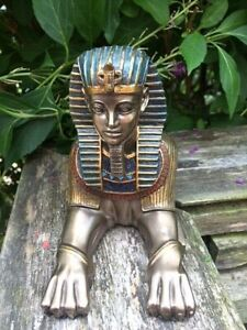 Bronze Effect Sphinx Statue Egyptian Style Ornament Figurine