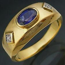 LOW SET 18k Solid Yellow GOLD SAPPHIRE DIAMOND RING Val=$1780 Sml Sz I1/2 Pinky