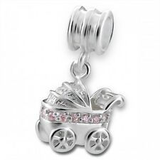 Sterling Silver New Baby Girl 3D Pram with Pink Crystals Dangle Charm Bead