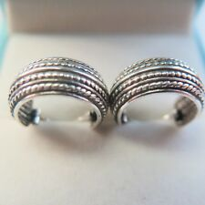 New Fashion Real S925 Sterling Silver Women Carved Hoop Earrings 16x6mm