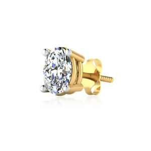 100% REAL 14K YELLOW GOLD MENS SINGLE EARRING STUD 7 mm 0.60 CARAT OVAL