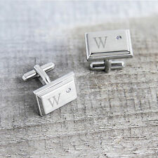 NEW Personalized Zircon Jewel Stainless Steel Cuff Links FREE ENGRAVING