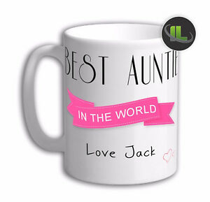 Personalised Best Auntie in the world Mug. Customise with your own text. IL2022