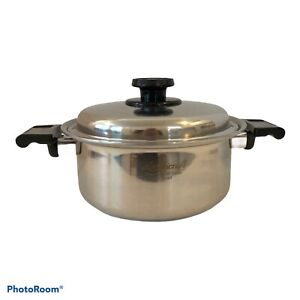 West Bend Americraft Kitchen Craft Stainless 4 Qt Silver Round Stock Pot & Lid