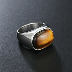Mens 316L Stainless Steel Band Ring Solid Tiger's Eye Oval Stone Ring Size 7-13