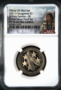 :2021 S $1 SACAGAWEA TWO FEATHERS MILITARY SERVICE NGC PF70 ULTRA-CAM TOP POP