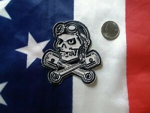 SKULL AND PISTONS Embroidered greaser hotrod Biker Motorcycle Vest Patch
