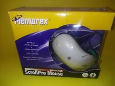 Memorex scroll pro mouse PS2  3 button scroll wheel, R or L hand, new in package