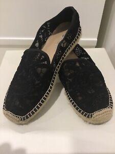 Black Mesh Floral Lace Print Flat Espadrille Shoe size 5 / 35