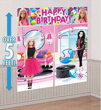 BARBIE DOLLS SPARKLE Scene Setter HAPPY BIRTHDAY party wall decoration kit 5'