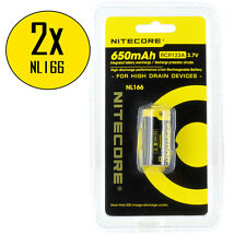 2xNitecore NL166 RCR123A 16340 650mAh 3.7V Protected Li-ion Rechargeable Battery