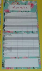 2021 Calendar Family Organiser Year Planner Gift Floral & Leaf Design (Yellow}