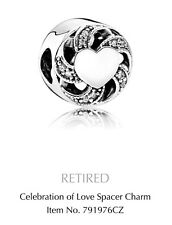 Genuine Pandora Charm Sterling Silver Celebration Of Love Ribbon Heart 791976CZ