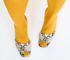 Block Heel Mules - Snakeskin Effect Leather - Alfonso Garlando 38.5 / UK 5.5
