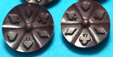 6 1940s English Bakelite Playing Card  Buttons - 1.8cm wide