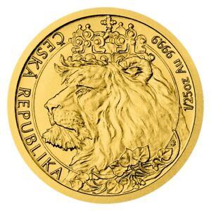 Gold Czech Lion 1/25 OZ 2021 Gold Coin 9999 Czech Bohemian Lion