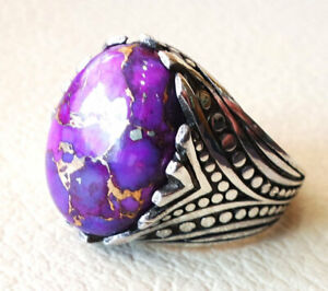 925 Sterling Silver Overlay Purple Copper Turquoise Gemstone Boys Mens Ring