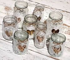 8 Vintage Wedding Lights Handmade Glass Lanterns White Lace Jars Candle Holders