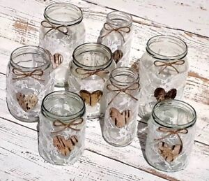 8 Vintage Wedding Lights Handmade Glass Lanterns White Lace Jars Candle Holders
