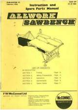 McCONNEL ALLWORK MOUNTED SAWBENCH OPERATORS MANUAL WITH PARTS LIST - SAW BENCH