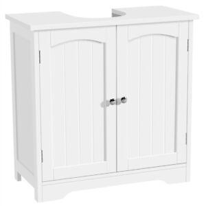 Under Sink Cabinet Storage Unit Cupboard Bathroom Double Door w/2 Shelves White