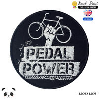 Pedal Power Embroidered Iron On Sew On Patch Badge For Clothes Bags Shoes etc