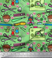 Soimoi Fabric Scissor,Buttons & Machine Sewing Print Fabric by Meter-SW-501C