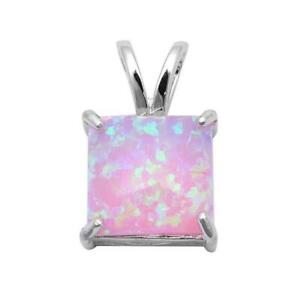 Pink Opal Princess Pendant Necklace set in Solid Sterling Silver w/chain