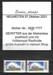 44292 Bund 7. Oktober 2021 Mi-Nr: 3617 MBox selbstklebend postfrisch VOLLSTEMPEL
