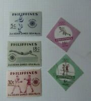 Q14. Lote de 5 sellos  Asian Games 1954 Fhilippines sin usar -1  stamped