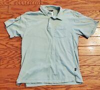 Patagonia Mens Green Striped Front Pocket Polo Shirt Size Small B16-19