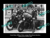 8x6 HISTORIC PHOTO OF USA MILITARY POLICE HARLEY DAVIDSON WLA MOTORCYCLE c1945