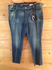 """VERA WANG DISTRESSED JEANS SIZE 22WS SHORT NWT $56 MID RISE STRETCH 28"""" INSEAM"""