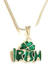 Silver Irish Shamrock Necklace Green Celtic St. Patricks Day Pendant Plated