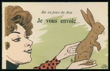 art Lion woman send a Rabbit humor original old c1900s postcard