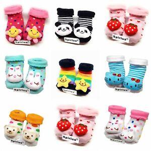 SPIRIUS Baby Boys Girls socks Booties Indoor Shoes Slippers animal cartoon warm