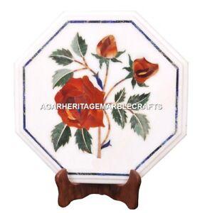 Marble Coffee Table Top Rare Hakik Mosaic Inlay Floral Art Furniture Decor H1978