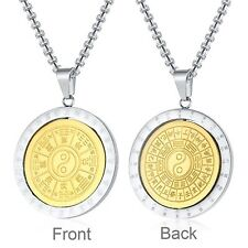 Stainless Steel Taoist 8 Trigrams of Bagua Buddhist Spinning Pendant & Necklace