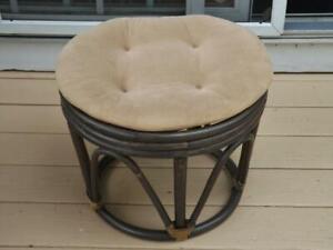 Vintage Bamboo Bentwood Footstool Foot Stool Ottoman & Cushion BOHO Retro
