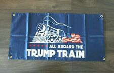 All Aboard the Trump Train Banner Flag 2020 Election Keep America Great Blue New