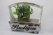 'Rustique' PLANTER BOX POT Shabby Chic Vintage Retro WOODEN GARDEN TRAY